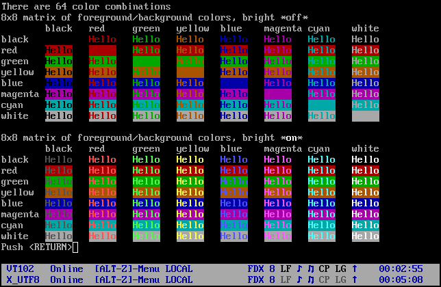 vttest Colors Image